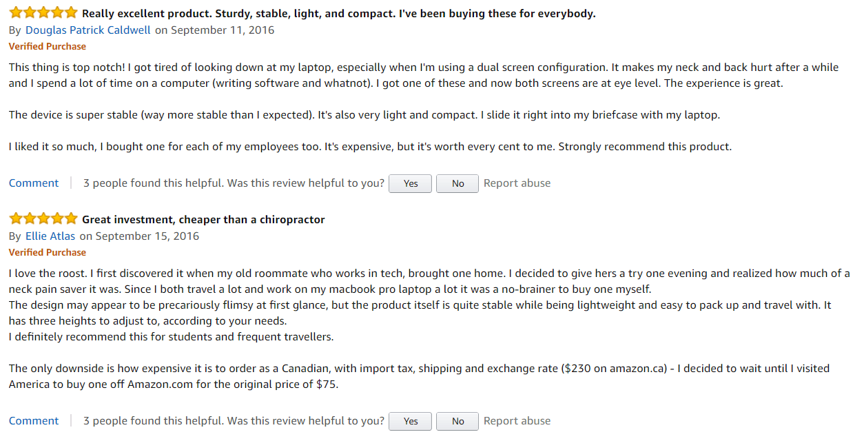 Amazon Roost Laptop Stand Customer Review 1