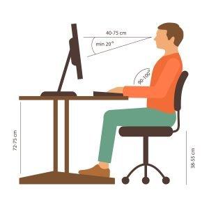 Correct Sitting Posture Behind Desk Illustration