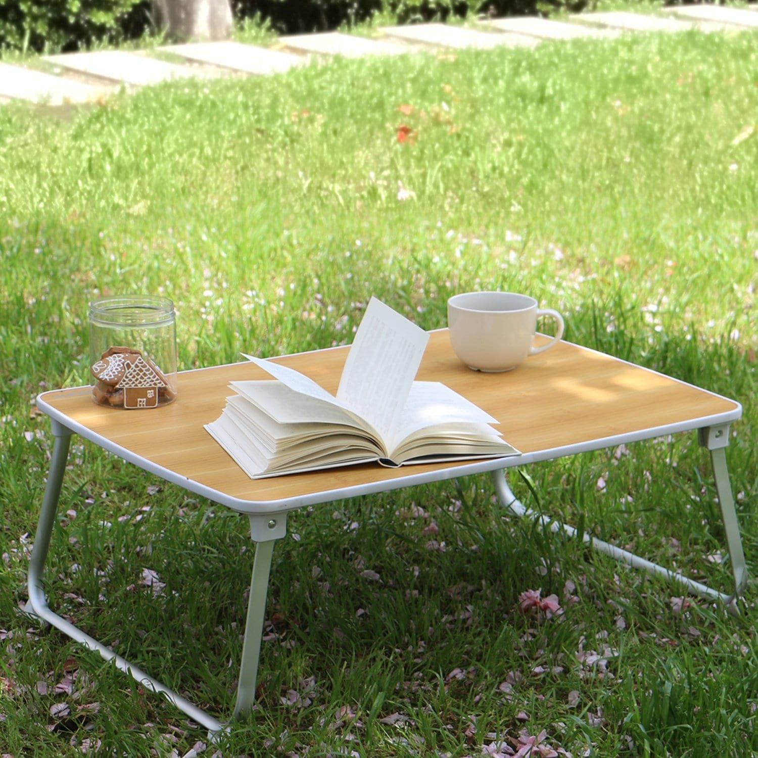Superjare Bed Table on Grass